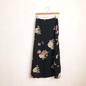 vintage skirt black maxi roses print M floral